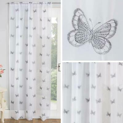 £12.95 • Buy Grey Voile Curtain Butterfly Embroidered Slot Top Panels Rod Pocket Sheer Voiles