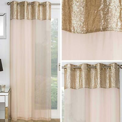 £11.95 • Buy Gold Voile Panel Sequin Sparkle Bling Sheer Eyelet Curtains Voiles Panels