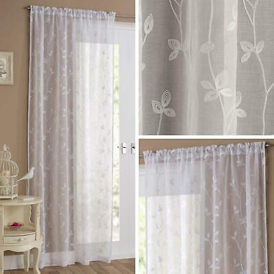 £11.95 • Buy White Voile Curtain Floral Embroidered Slot Top Panels Rod Pocket Sheer Voiles