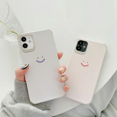 Cute Smile Face Phone Case Faux Leather Silicone Cover For IPhone 11 X XR XS SE • 9.08£