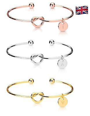 £2.95 • Buy Initial Letters Charm Love Knot Bridesmaid Bracelet Rose Gold Silver Women Gift