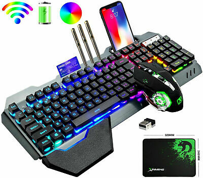 AU75.99 • Buy Wireless Gaming Keyboard And Mouse Rainbow LED Backlit Rechargeable Set Mice Pad