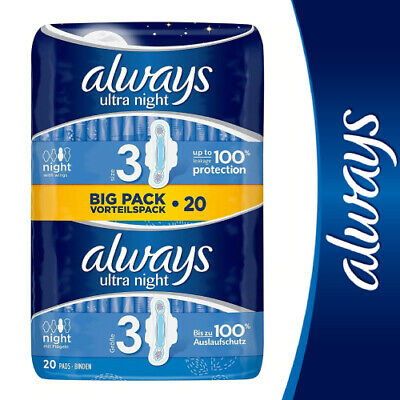 £5.69 • Buy Always Ultra Night Sanitary Towels Pads Size 3 Wings Womens Absorbent Pack Of 20