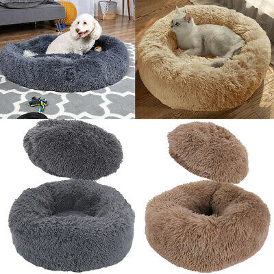 Long Soft Plush Comfy Calming Dog Bed Self-Warming Fluffy Anti Anxiety Donut Bed • 15.99£