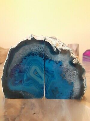 Agate Quartz Crystal Bookends Blue House Office Gift  Home Decor 1.1kg • 29.75£