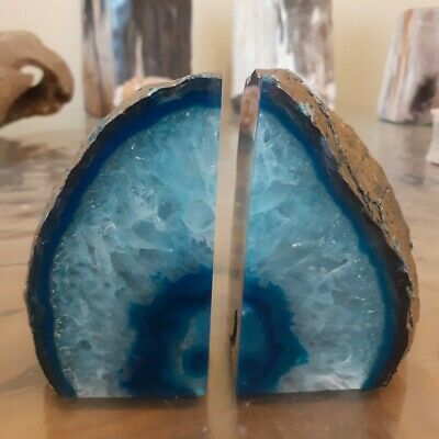 Agate Quartz Crystal Teal Bookends - Great House Office Gift / Home Decor 1.3kg • 34.95£