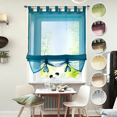 £13.38 • Buy Roman Blind Drapes Tab Top Loops Voile Decorative Window Curtain Liftable Panels