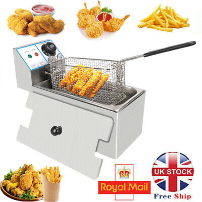 £31.85 • Buy 6L Commercial Electric Deep Fat Chip Fryer Pan & Basket 4L Oil Stainless Steel