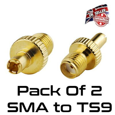£4.95 • Buy Pack Of 2 TS9 Male Plug To SMA Female RF Connector Adapter Gold *UK Seller*