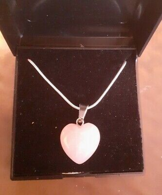 """£4 • Buy Necklace With Rose Quartz Heart Pendant - Crystal Stone With 22"""" Silver Chain"""