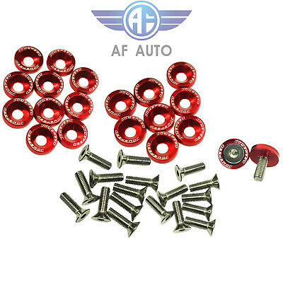 $8.88 • Buy 20pcs Red Billet Aluminum Bumper Fender Washer/Bolt Engine Bay Dress Up Kit
