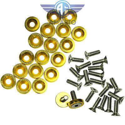 $8.88 • Buy Gold JDMSPEED Aluminum Fender Washer Bolt Engine Bay Dress Up Kit 20 PCS