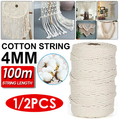 AU13.29 • Buy 1-4pc 4mm Natural Cotton Twisted Cord Craft Macrame Artisan Rope Craft String AU