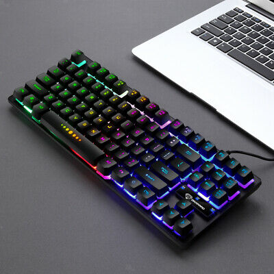 AU33.14 • Buy 87 Keys Mechanical Gaming Keyboard RGB LED Backlit For Windows PC Gamers