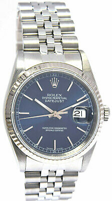 $ CDN7015.57 • Buy Rolex Mens Datejust Stainless Steel Blue Dial Automatic Watch 16234 E