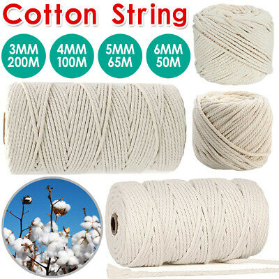 AU13.59 • Buy 3/4/5/6mm Macrame Rope Natural Beige Cotton Twisted Cord Artisan Hand Craft NEW