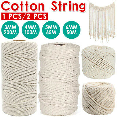 AU14.59 • Buy 3/4/5/6mm Macrame Rope Natural Beige Cotton Twisted Cord Artisan Hand Craft NEW