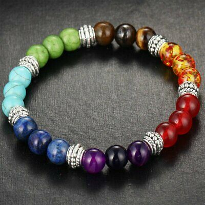 AU4.57 • Buy 7 Chakra Healing Balance Beaded Bracelet Lava Yoga Reiki Prayer Stone Gifts