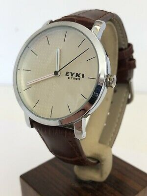 £14.50 • Buy Eyki E Times Gents Quartz Watch With New Brown Leather Strap