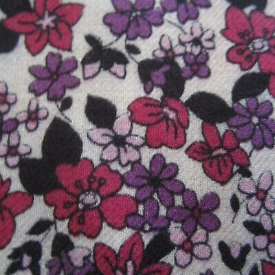 103cm X 91cm Wool Blend Viyella Purple Floral Sewing Fabric Vintage 1970s Retro • 16.94£