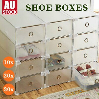 AU36.09 • Buy 10/20x Clear Drawer Shoe Storage Box Stackable Container Organizer Cabinet Rack