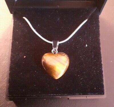 Necklace With Tigers Eye Heart Pendant - Crystal Stone With 20  Silver Chain • 4.99£