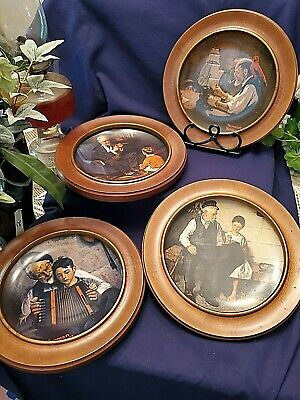 $ CDN44.66 • Buy 4 Knowles Norman Rockwell Hanging Plates Inside Wooden Frames 10 1/4  Wide