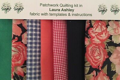 LAURA ASHLEY PATCHWORK QUILTING KIT 80 Piece NAVY ROSE +INSTRUCTIONS & Templates • 16.50£
