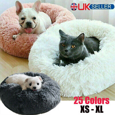 Warm Comfy Calming Dog/Cat Bed Round Super Soft Plush Pet Beds Marshmallow Gift • 13.99£