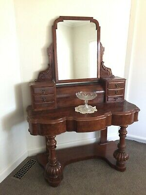 AU475 • Buy Beautiful Antique Victorian Burr Walnut Dressing Table / Hall Stand!