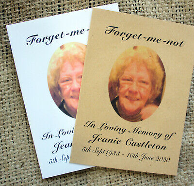 Funeral Favours Personalised Seed Packets Remembrance Forget Me Not Memorial  • 4.98£