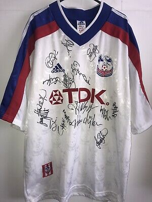 *L* SQUAD SIGNED 1998/99 Crystal Palace Away Football Shirt (ks) • 99.99£