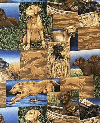 Labrador Retriever Hunting Cotton Fabric - Large Pictures - Remnant  • 12.55£