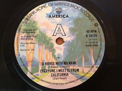AMERICA - 1971 Vinyl 45rpm 7-Single - A HORSE WITH NO NAME • 5.99£