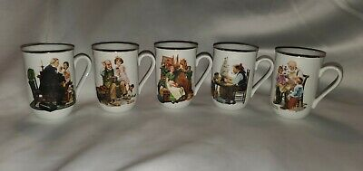 $ CDN32.94 • Buy Norman Rockwell Collection Coffee Mugs Cups Gold Trim Lot Of 10