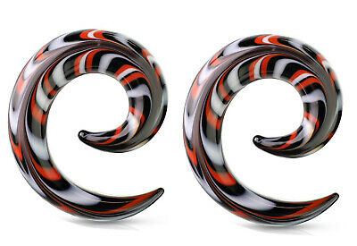 $14.49 • Buy Pair Of Red Black Glass Ear Plugs Tapers Spirals Horseshoes Tapers Gauges