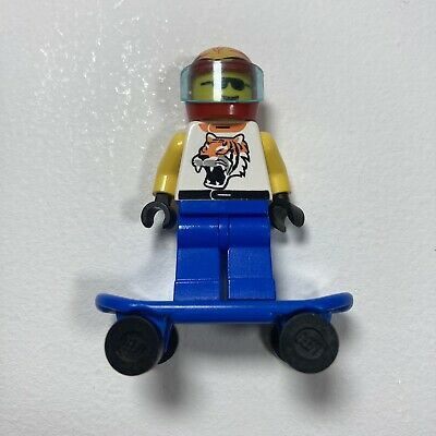 Lego Town Race Minifigure Driver With Tiger Pattern, Helmet & Skateboard • 2.99£