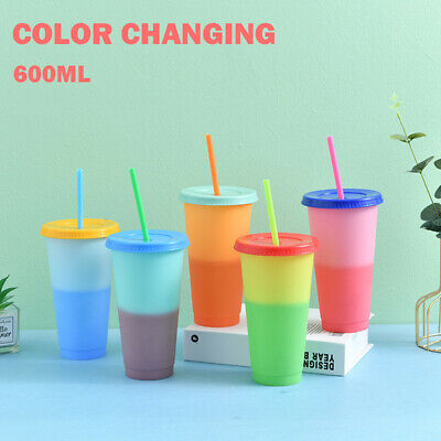 Magic Reusable Water Bottles With Straws Color Changing Cold Cups Tumbler UK • 4.99£