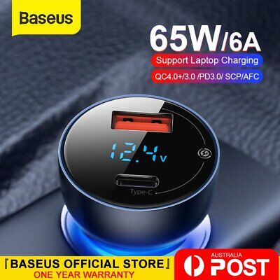 AU13.99 • Buy Baseus 65W Car Charger PD QC4.0 FAST Charge USB Type C Cigarette Lighter Adapter