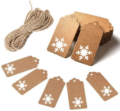 ECO Gift Tags Kraft Paper Card Label Parcel Tags DIY Tags Xmas Hanging Ornament • 1.27£