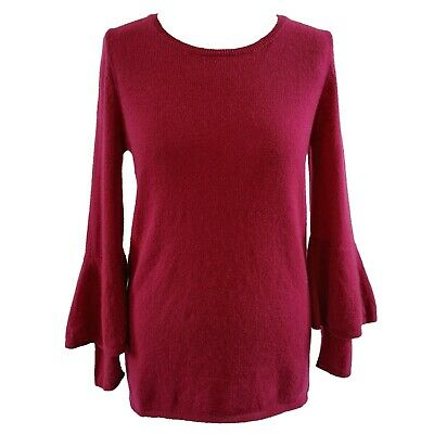 N.Peal Double Sleeve Round Neck Red Berry Soft 100% Cashmere Jumper Size Medium • 84.99£