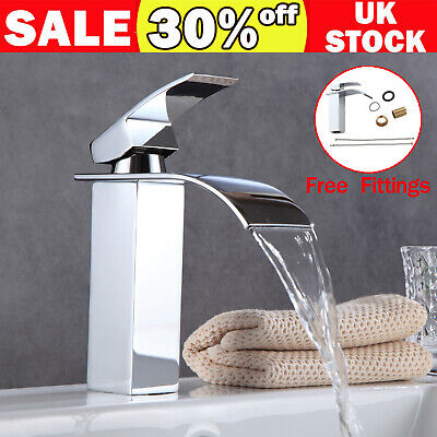 Waterfall Bathroom Sink Counter Taps Basin Mixer Tap Chrome Square Mono Faucet • 19.90£