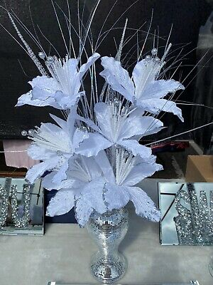 Bling Mosaic Mirror Decorated 26cm Vase With Glittery 6 White Flowers • 28.99£