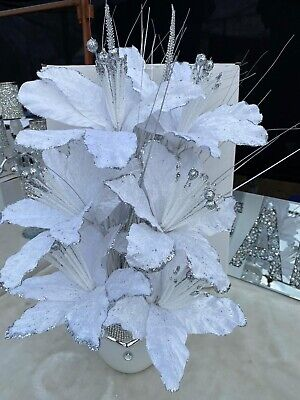 White Bling Mosaic Mirror Decorated Vase With 6 Glittery White Flowers • 28.99£