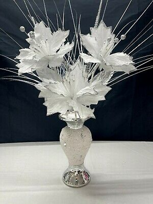 Bling Mosaic Mirror Decorated 26cm Vase With Glittery White Flowers • 24.99£
