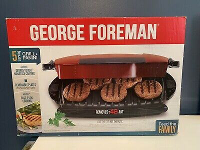 George Foreman 5-Serving Removable Plate Electric Indoor Grill And Panini Press • 34.50£