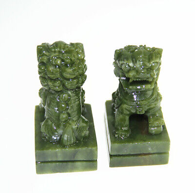 Natural China Green Jade Carved Fengshui Foo Fu Dog Guard Door Lion A Pair • 17.80£