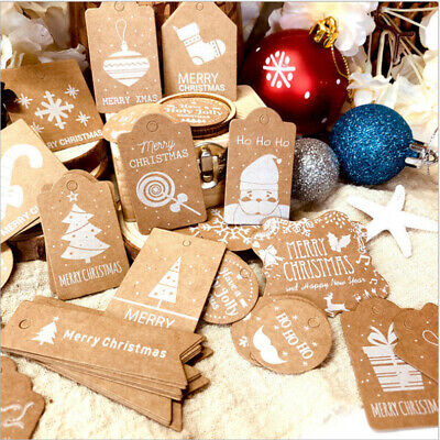 50/100Pcs Christmas Kraft Paper Gift Tags Scallop Label Luggage Blank + Strings  • 2.08£