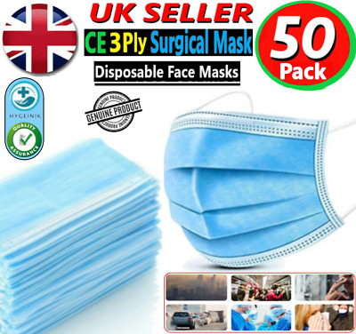 Disposable Face Mask 3 Ply 50 Pack- Non Surgical Breathable Mouth Guard Cover Uk • 4.89£