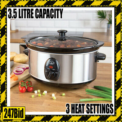 3.5l Stainless Steel Slow Cooker With Removable Ceramic Bowl 200w Crock Pot • 24.99£